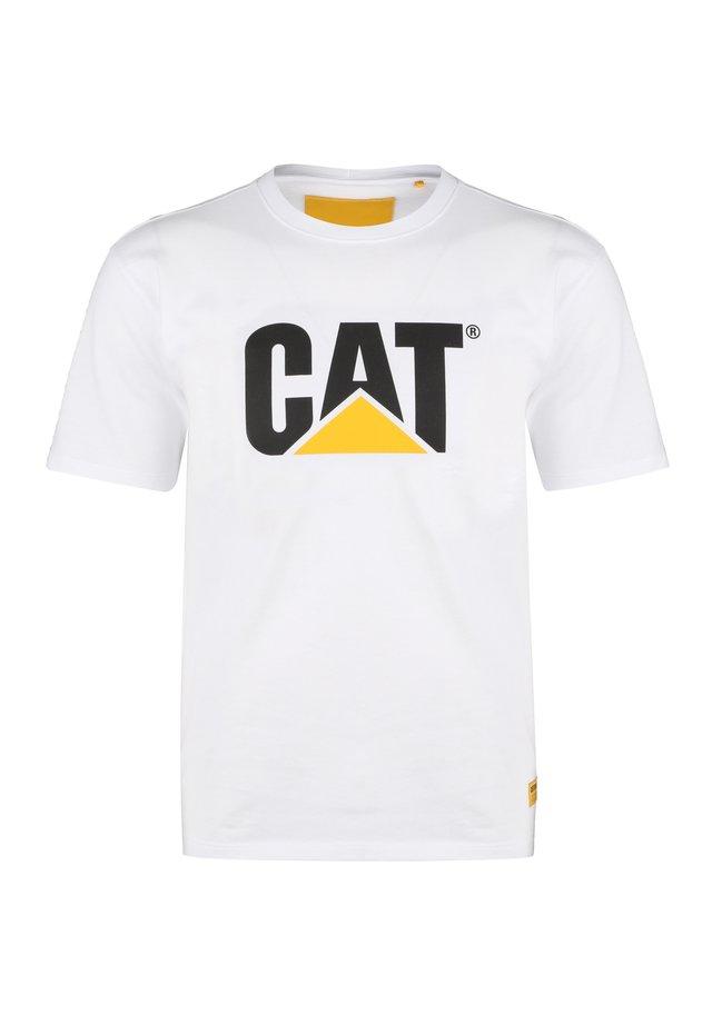 CATERPILLAR CLASSIC CAT T-SHIRT HERREN - T-shirt z nadrukiem - white
