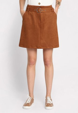 MIT GÜRTEL - A-line skirt - brown