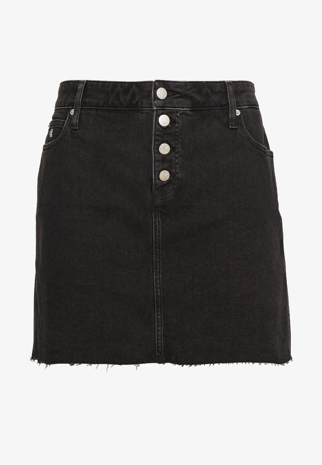 HIGH RISE MINI SKIRT - Spódnica jeansowa - black shank