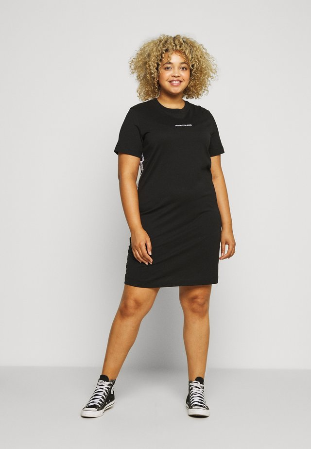 PLUS TAPE DRESS - Jerseyjurk - black