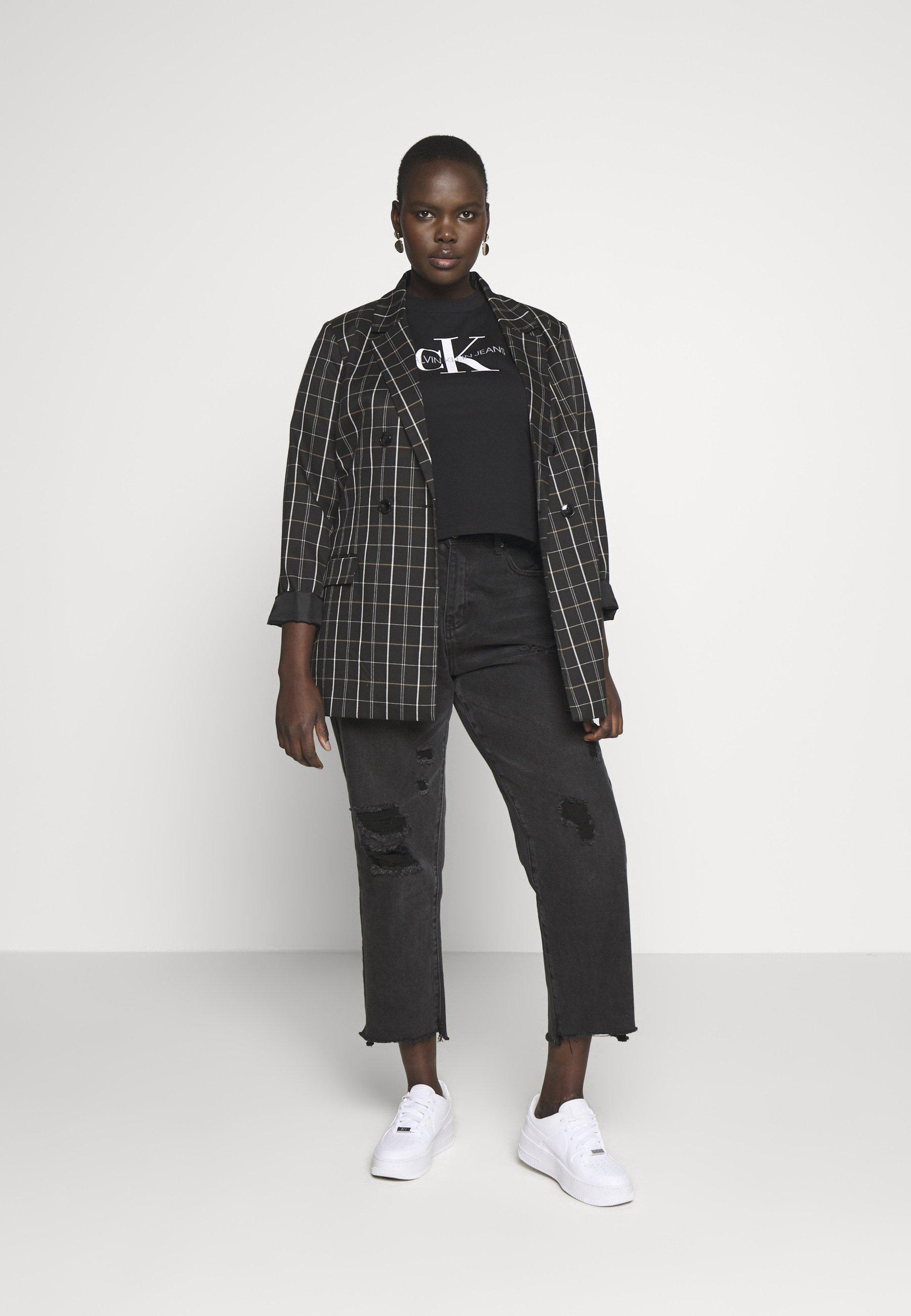 Calvin Klein Jeans Plus MONOGRAM STRAIGHT - T-shirt z nadrukiem - black