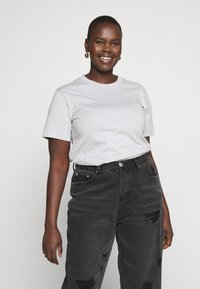 Calvin Klein Jeans Plus - EMBROIDERY TEE - Basic T-shirt - light grey heather - 0