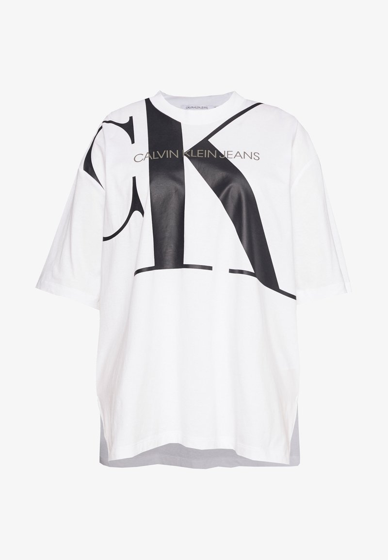 Calvin Klein Jeans Plus - PLUS LARGE TUNIC TEE - Print T-shirt - bright white