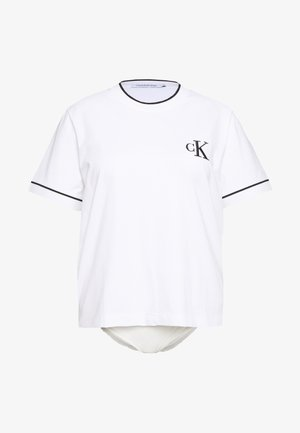 PLUS EMBROIDERY TIPPING TEE - T-shirt con stampa - white