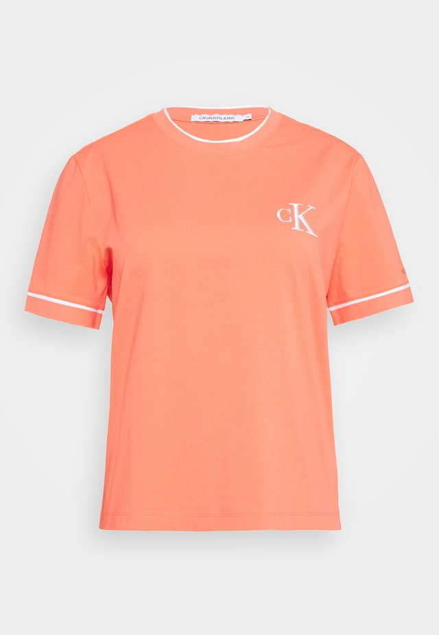 EMBROIDERY TIPPING TEE - T-shirt print - coral