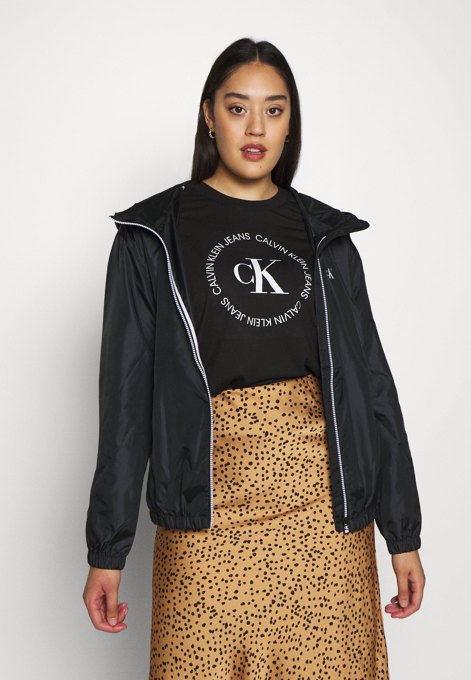 Calvin Klein Jeans Plus PLUS LARGE CK HOODED ZIP THROUGH - Kurtka sportowa - black