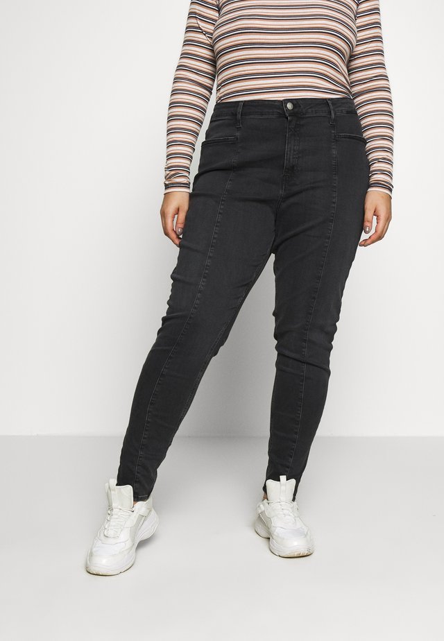PLUS HIGH RISE SKINNY ANKLE - Jeans Skinny Fit - black