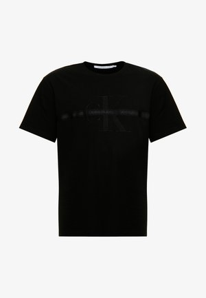 PLUS TAPING THROUGH MONOGRAM TEE - T-shirt z nadrukiem - black