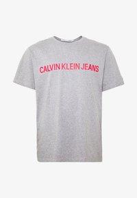 Calvin Klein Jeans Plus - PLUS INSTIT LOGO TEE - Print T-shirt - mid grey heather / poseidon - 3