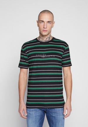 UNISEX STRIPED GOLF TEE - T-shirt med print - black