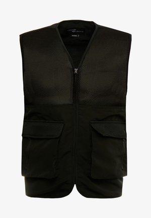 UNISEX UTILITY BELTED RATTLE VEST - Waistcoat - black
