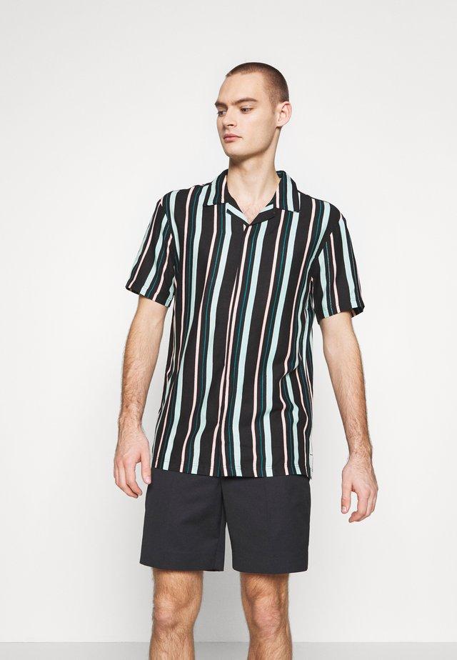 UNISEX STRIPED SHORT SLEEVE BOWL - Skjorte - black