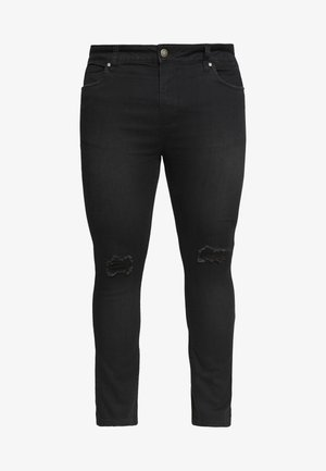 PLUS SCRATCH RIPPED KNEE - Skinny-Farkut - black