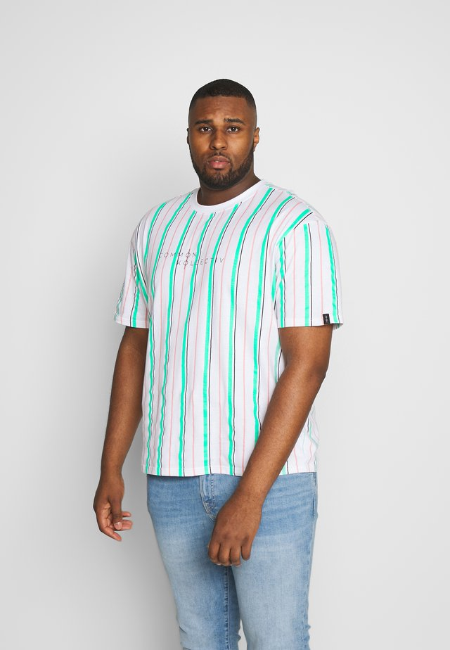 PLUS STRIPED - Print T-shirt - white