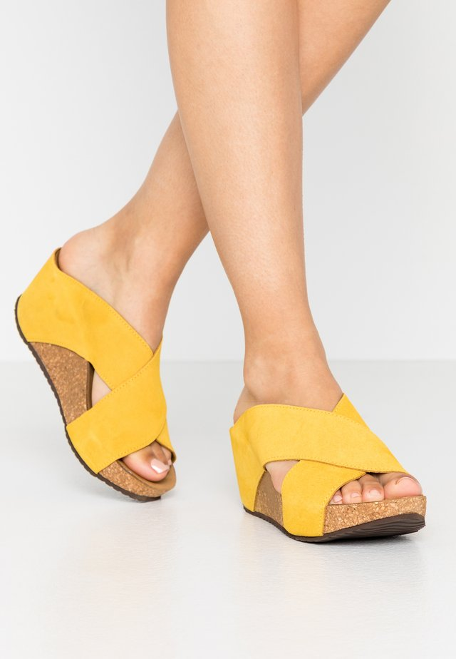 FRANCES  - Heeled mules - yellow