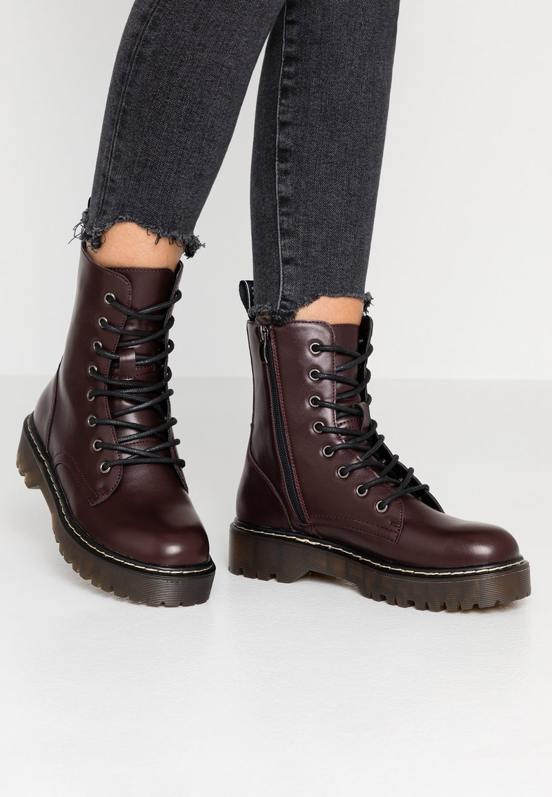 Coolway - CARDY - Platform ankle boots - burgundy