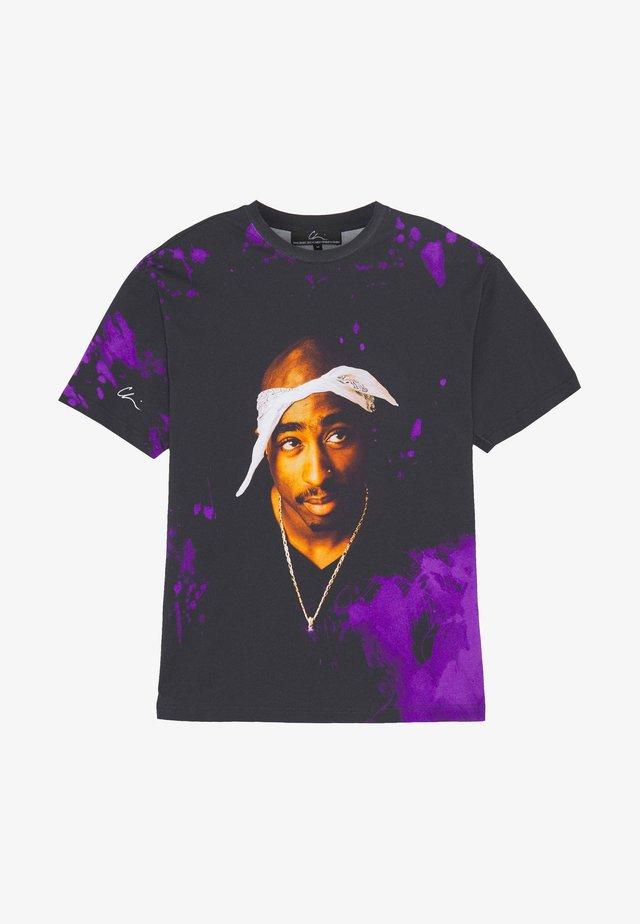 T-shirt z nadrukiem - black/purple