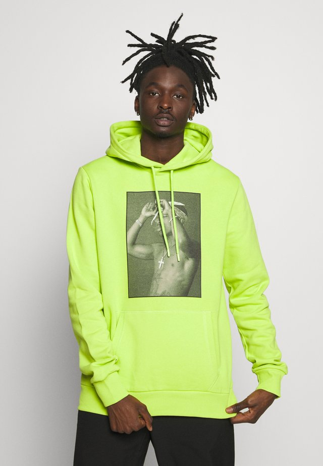 Sweat à capuche - neon green/black