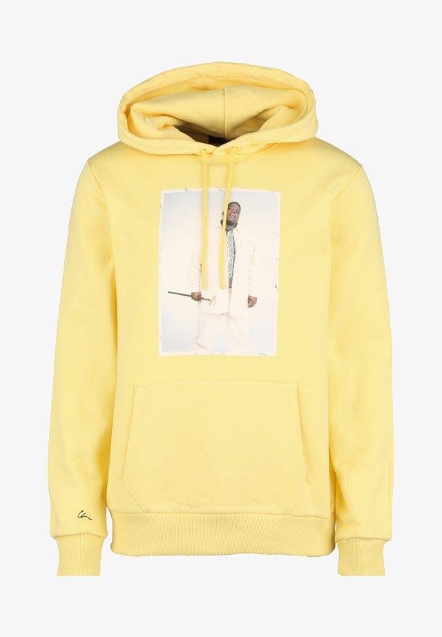 Hoodie - yellow/print white