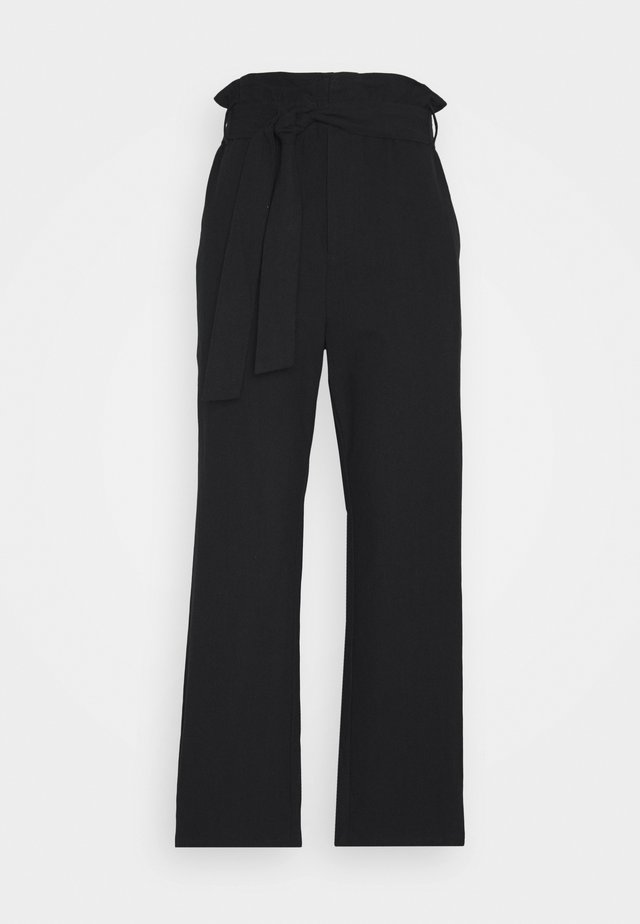 PAPER BAG PANT - Trousers - black