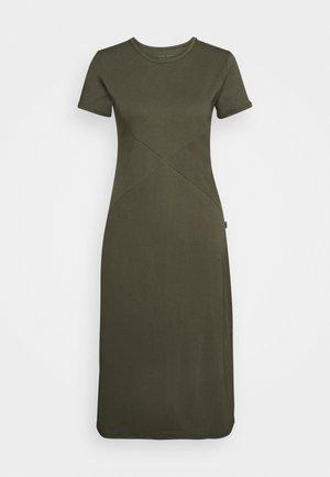 SIDE SPLIT MIDI DRESS - Žerzejové šaty - olive