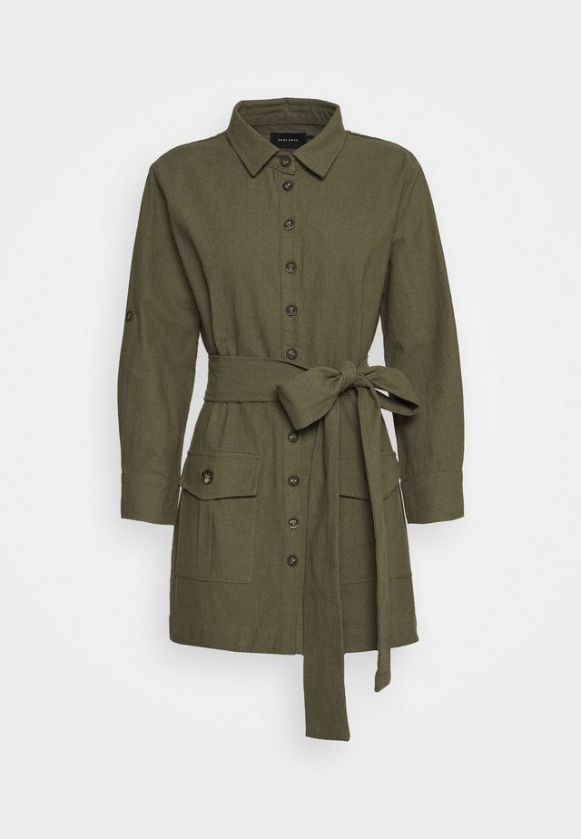 BELTED DRESS - Shirt dress - olive