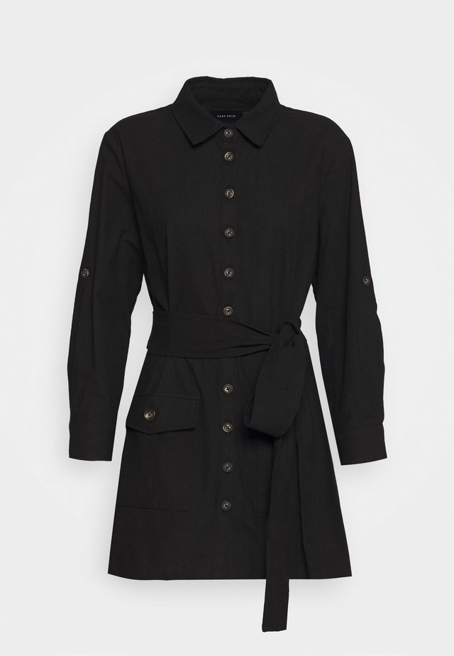 BELTED DRESS - Shirt dress - black