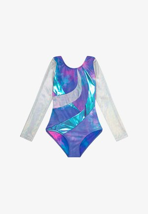 GIRLS' GYMNASTICS LONG SLEEVE LEOTARD - Danspakje - pink/multi