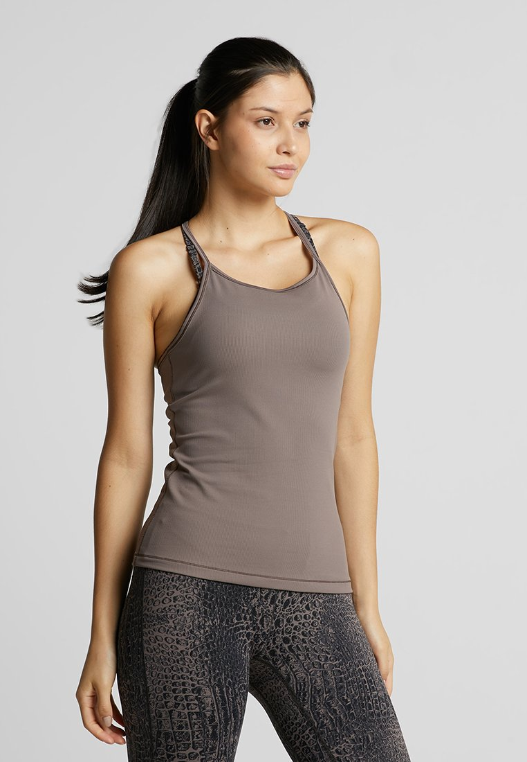 Casall - LUX STRAP RACERBACK - Top - grounded brown