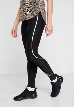 SCULPTURE HIGH WAIST  - Legging - black/golden metallic
