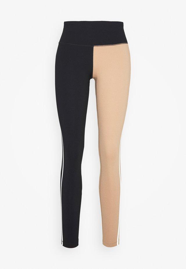 BLOCK HIGH WAIST - Leggings - black/clean beige