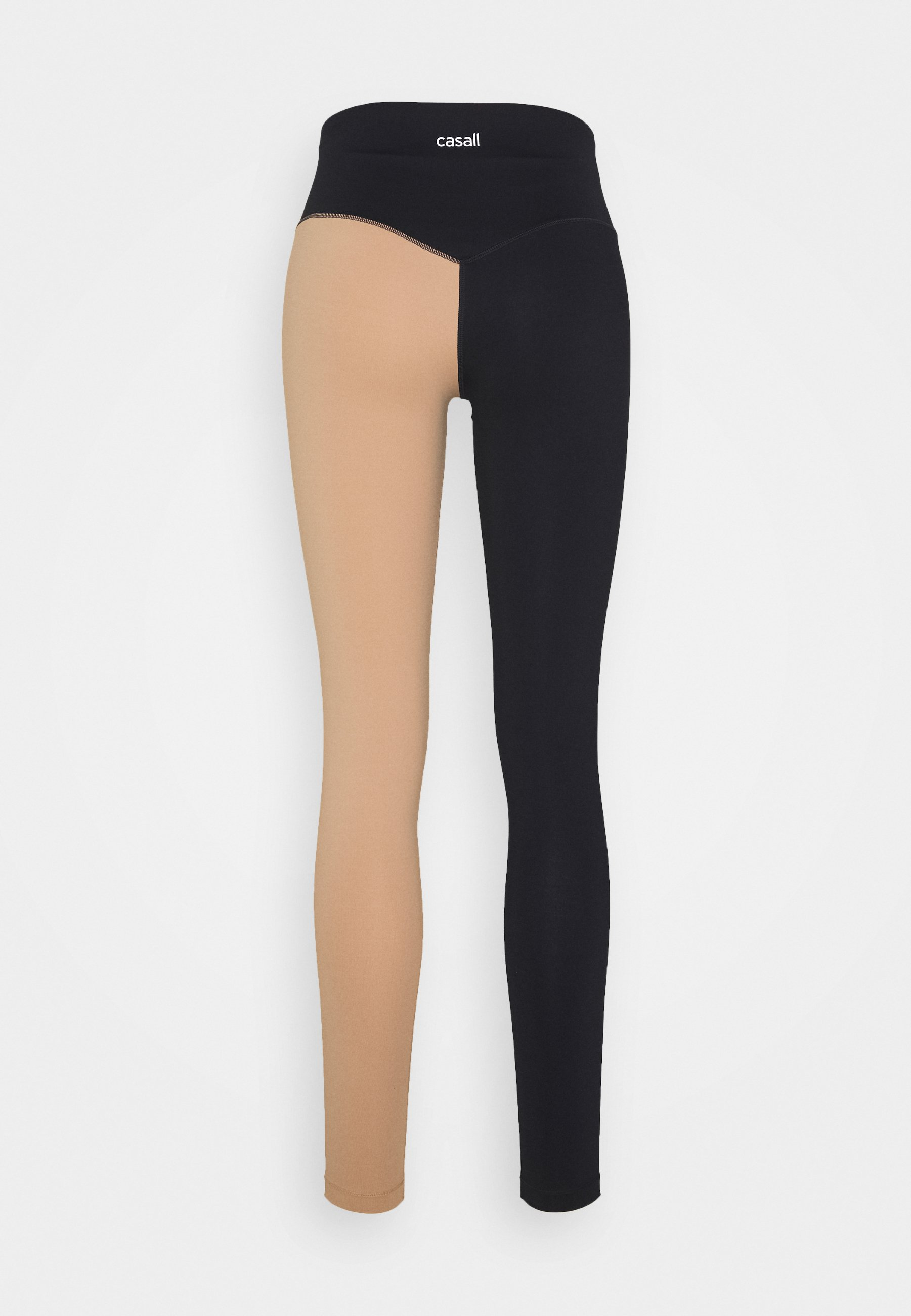 Casall BLOCK HIGH WAIST - Tights - black/clean beige