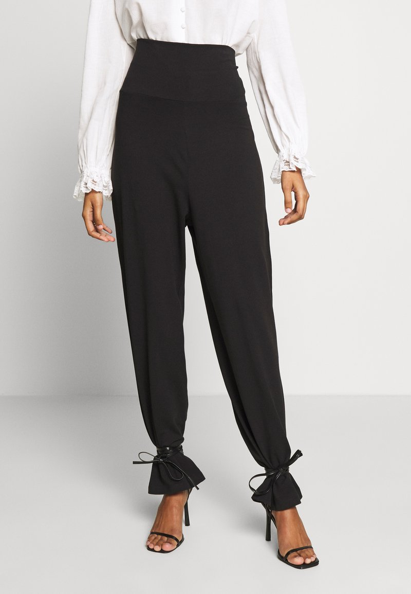 CALANDO - COMFY STRAIGHT LEG TROUSERS - Trousers - black