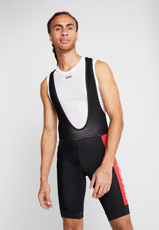 ADOPT BIB SHORTS - Leggings - black/bright red