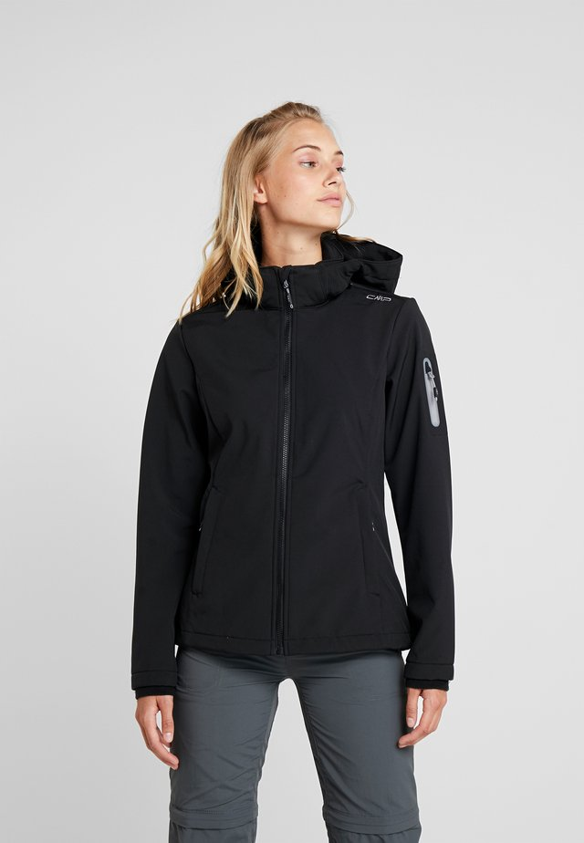 WOMAN JACKET ZIP HOOD - Softshelljacka - nero