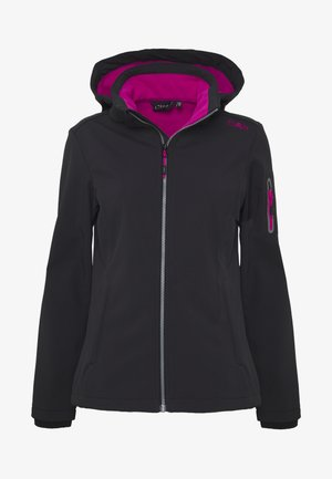 WOMAN JACKET ZIP HOOD - Soft shell jacket - antracite/bouganville