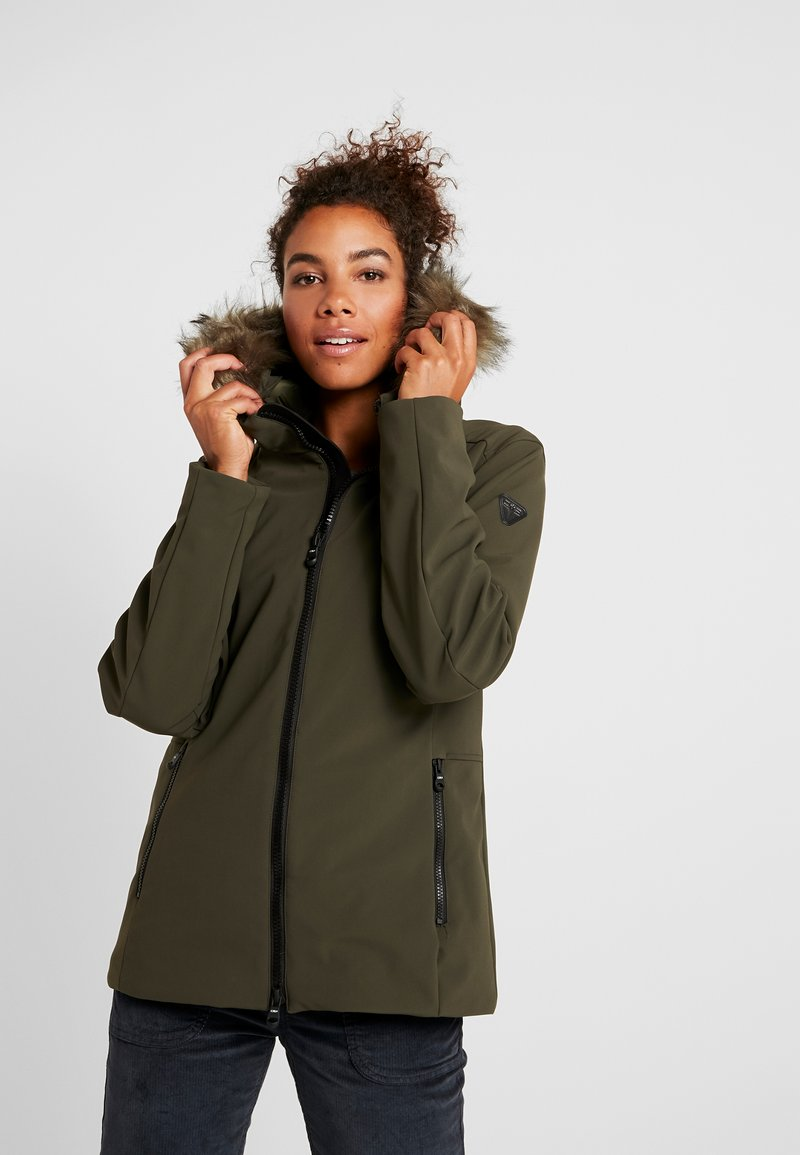 CMP - WOMAN MID JACKET FIX HOOD - Softshellová bunda - olive