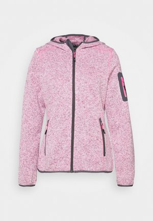 WOMAN JACKET FIX HOOD - Fleecejakker - pink fluo melange/graffite