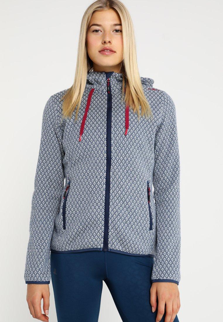 CMP - JACKET FIX HOOD - Fleece jacket - marine/bianco