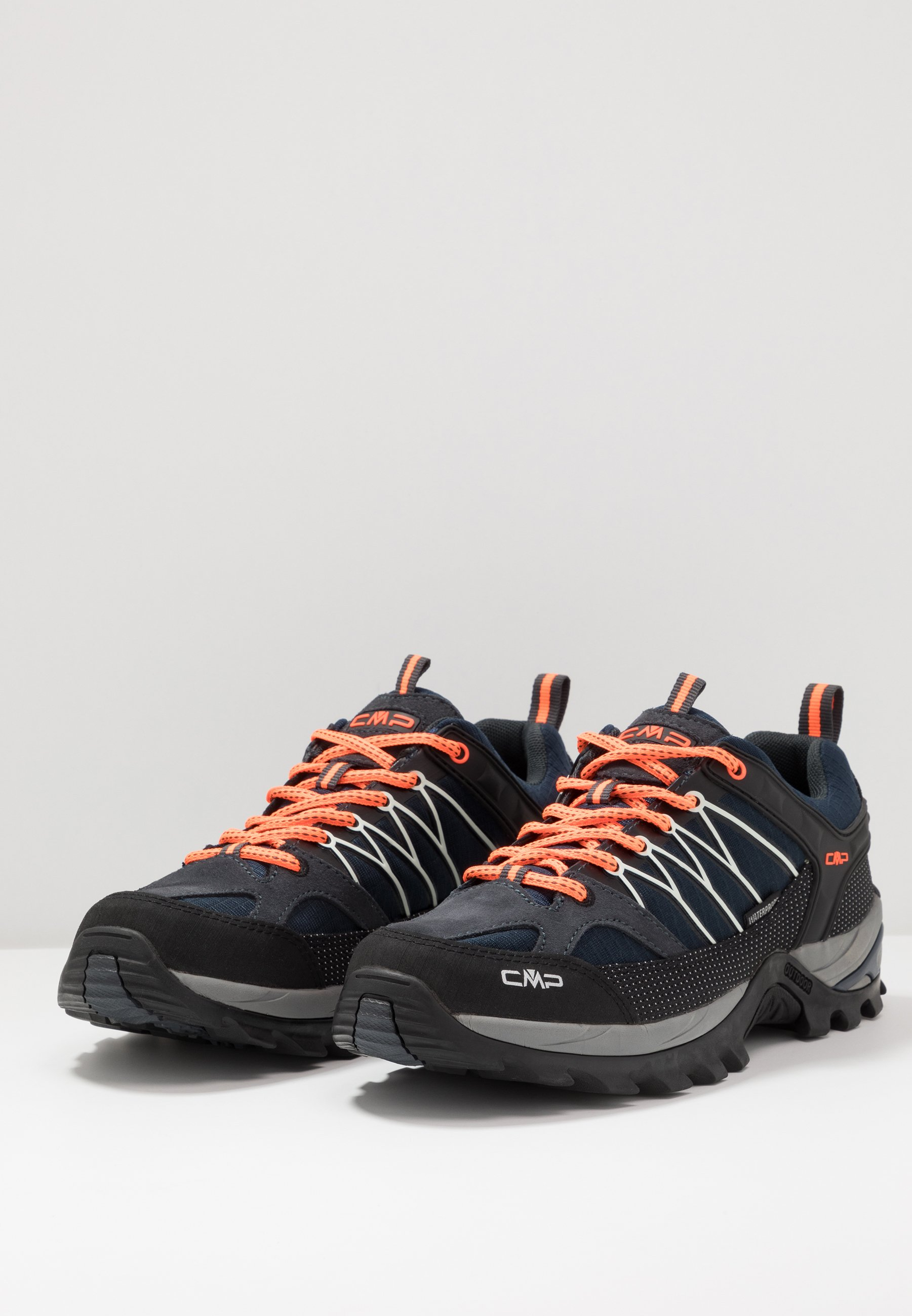 CMP RIGEL LOW TREKKING SHOES WP - Obuwie hikingowe - antracite/flash orange