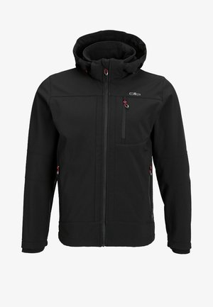 MAN JACKET ZIP HOOD - Kurtka Softshell - nero