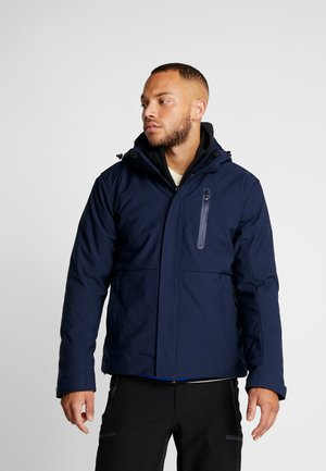 MAN JACKET ZIP HOOD - Softshelljacke - black/blue