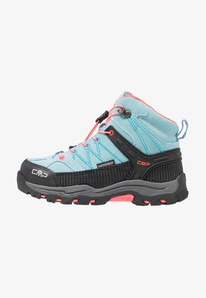 KIDS RIGEL MID SHOE WP - Hiking shoes - clorophilla/red fluo
