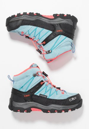KIDS RIGEL MID SHOES WP - Hiking shoes - clorophilla/red fluo