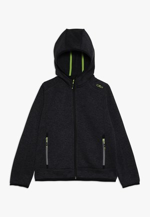 BOY JACKET FIX HOOD - Fleecová bunda - nero melange antracite