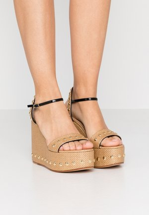 Højhælede sandaletter / Højhælede sandaler - natur