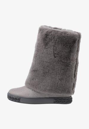 High heeled ankle boots - dark grey
