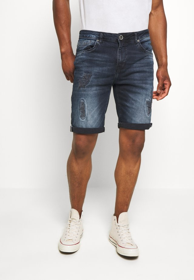 BECKER - Jeans Shorts - blue black
