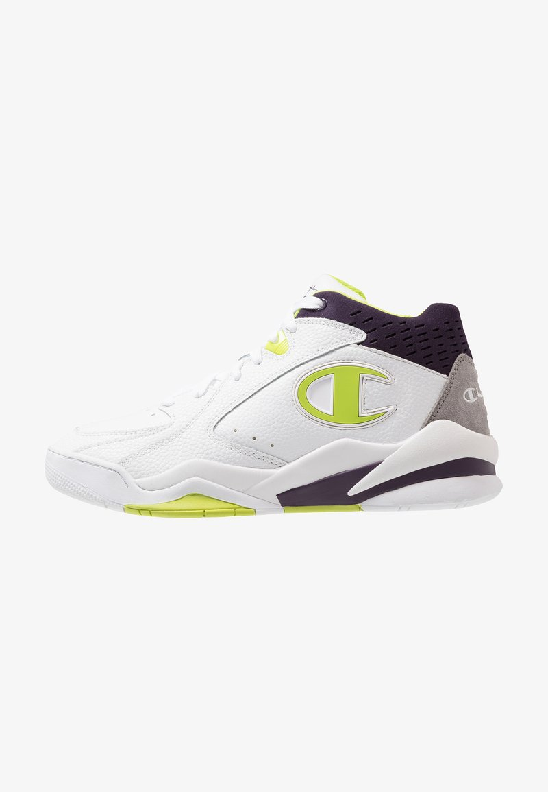 Champion - ZONE MID - Sneakers high - white/volt/lime