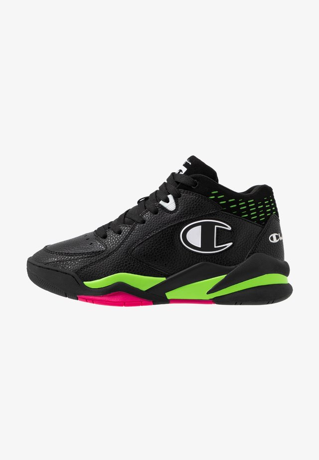 MID CUT SHOE ZONE 90'S - Basketbalschoenen - black/fluo lime/fluo fuxia